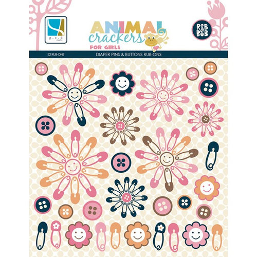 GCD Studios - Animal Crackers for Girls Collection - Rub Ons - Diaper Pins and Buttons