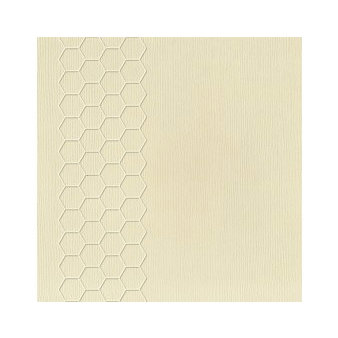 Pink Paislee - Core'dinations - Modern Prints Collection - 12 x 12 Embossed Color Core Cardstock - Vanilla Cream Hexagon