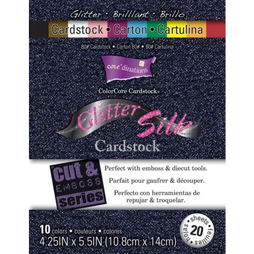 Core'dinations - Glitter Silk - 4.25 x 5.5 Color Core Cardstock Pack