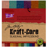 Core'dinations - Tim Holtz - Seasonal Impressions Collection - 12 x 12 Textured Kraft Core Cardstock Pack