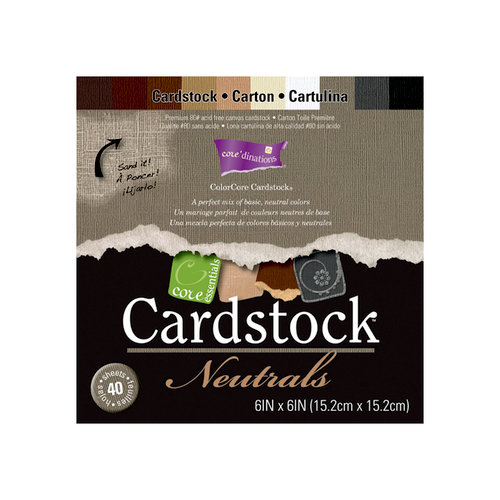 Core'dinations - Essentials Collection - 6 x 6 Color Core Cardstock Pack - Neutrals