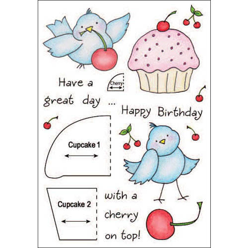 Inky Antics - HoneyPOP Collection - Clear Acrylic Stamps - Cupcake Birdy Set