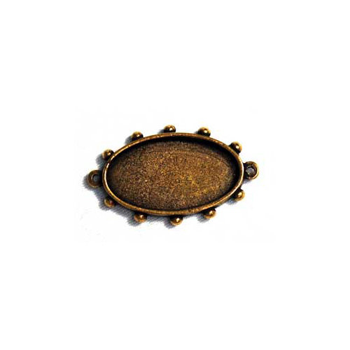 Art Mechanique - Ice Resin - Mixed Metal Bezels - Bronze Plated - Hobnail Oval - Medium