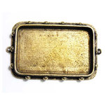 Art Mechanique - Ice Resin - Mixed Metal Bezels - Bronze Plated - Hobnail Rectangular - Large