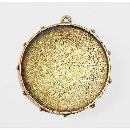 Art Mechanique - Ice Resin - Mixed Metal Bezels - Bronze Plated - Hobnail Round - Extra Large