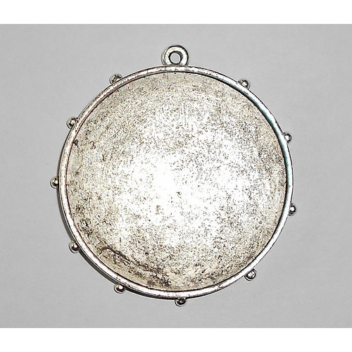 Art Mechanique - Ice Resin - Mixed Metal Bezels - Silver Plated - Hobnail Round - Extra Large