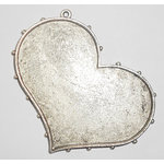 Art Mechanique - Ice Resin - Mixed Metal Bezels - Silver Plated - Hobnail Heart - Large