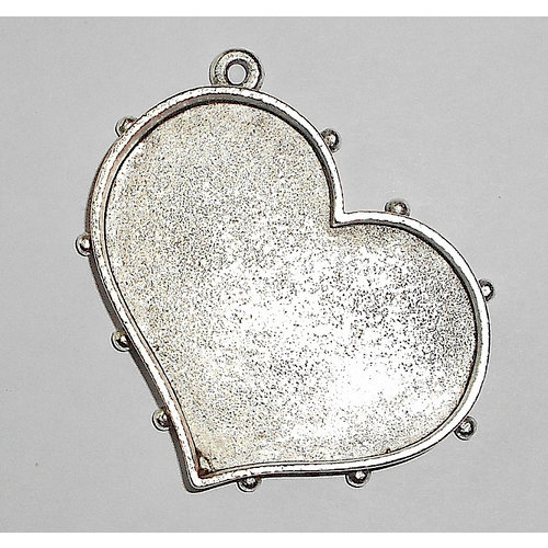 Art Mechanique - Ice Resin - Mixed Metal Bezels - Silver Plated - Hobnail Heart - Medium