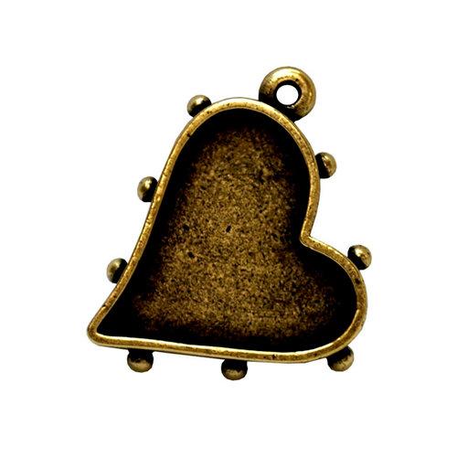 Art Mechanique - Ice Resin - Mixed Metal Bezels - Bronze Plated - Hobnail Heart - Small