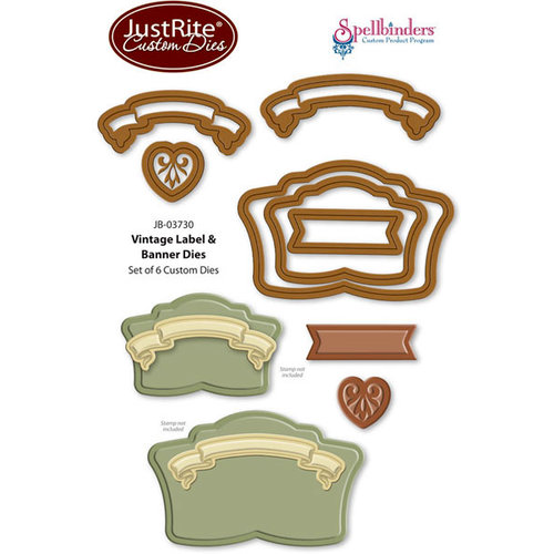 JustRite - Spellbinders - Die Cutting and Embossing Template - Vintage Label and Banner