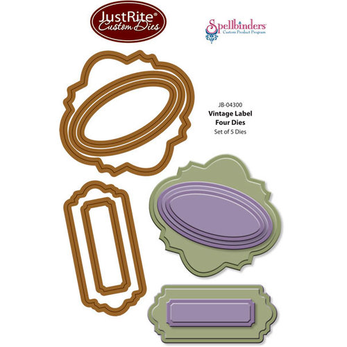 JustRite - Spellbinders - Die Cutting and Embossing Template - Vintage Labels Four
