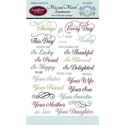 JustRite - Clear Acrylic Stamps - Mix and Match Sentiments