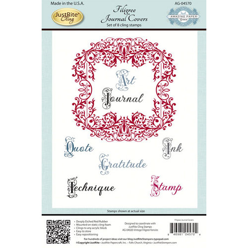 JustRite - Cling Mounted Rubber Stamps - Filigree Journal Covers