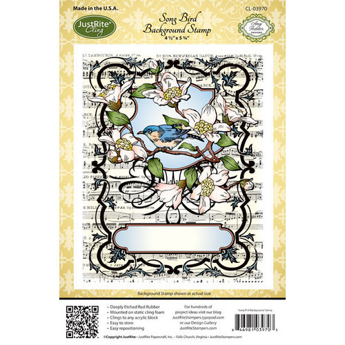 JustRite - Cling Mounted Rubber Stamps - Song Bird Background