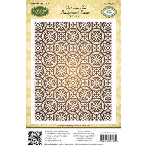 JustRite - Cling Mounted Rubber Stamps - Victorian Tile Background