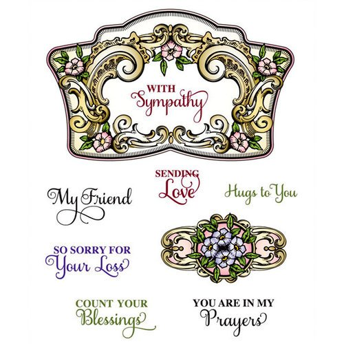 JustRite - Cling Mounted Rubber Stamps - Sympathy Vintage Labels