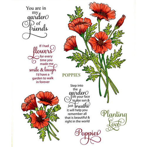 JustRite - Cling Mounted Rubber Stamps - Poppies Labels Twenty-Nine