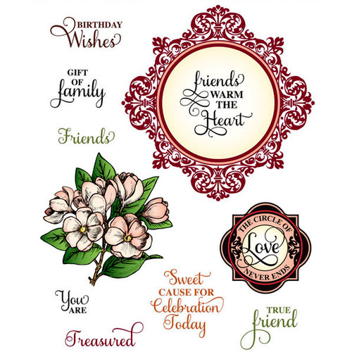 JustRite - Cling Mounted Rubber Stamps - Circle Of Love Vintage Labels Three