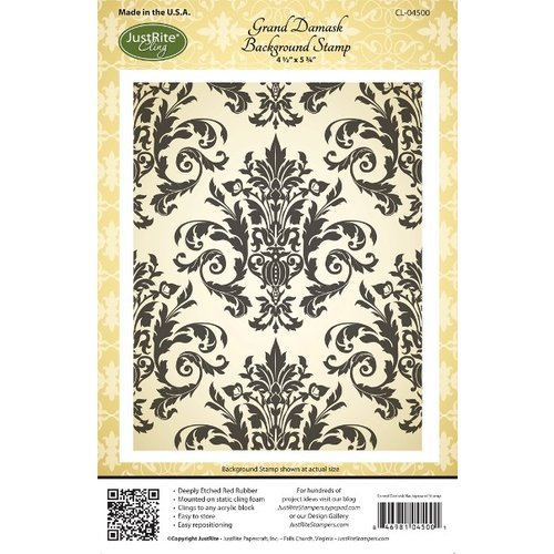 JustRite - Cling Mounted Rubber Stamps - Grand Damask Background
