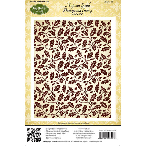 JustRite - Cling Mounted Rubber Stamps - Autumn Swirls Background