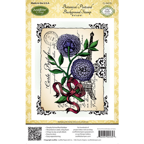 JustRite - Cling Mounted Rubber Stamps - Botanical Postcard Background