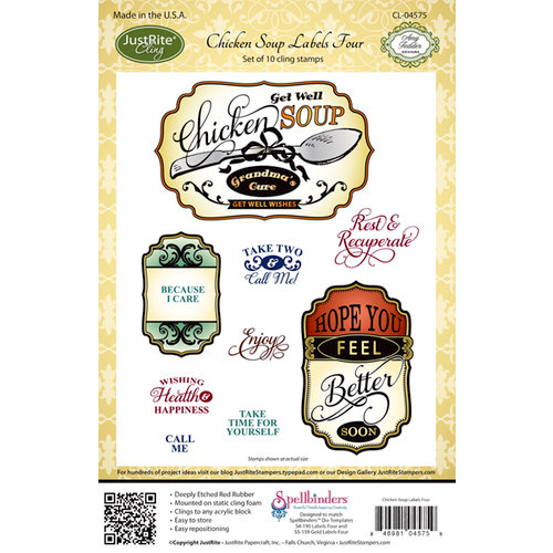 JustRite - Cling Mounted Rubber Stamps - Chicken Soup Labels Four