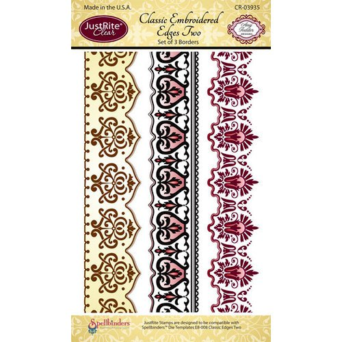 JustRite - Clear Acrylic Stamps - Classic Embroidered Edges Two