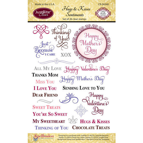JustRite - Clear Acrylic Stamps - Hugs and Kisses Sentiments