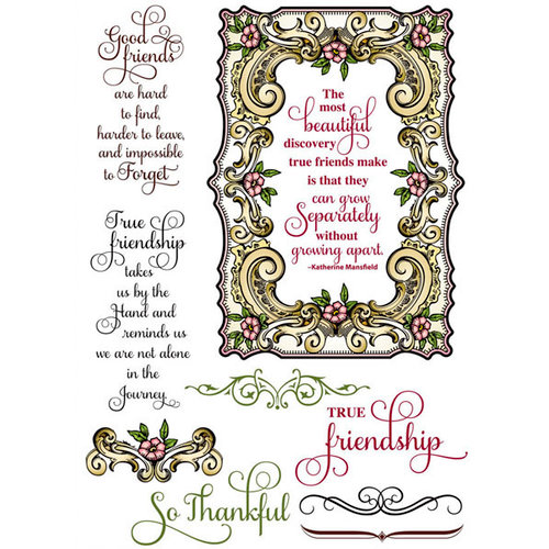 JustRite - Clear Acrylic Stamps - Good Friends Labels Twenty-Nine
