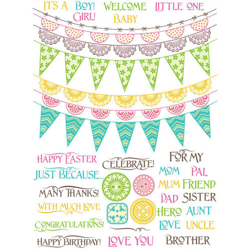 JustRite - Clear Acrylic Stamps - Buntings and Banners