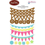 JustRite - Spellbinders - Die Cutting and Embossing Template - Buntings and Button