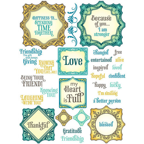 JustRite - Clear Acrylic Stamps - Ornate Happiness Squares