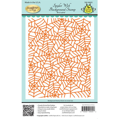 JustRite - Halloween - Cling Mounted Rubber Stamps - Spiderweb Background