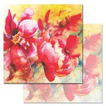 Ken Oliver - Watercolored Memories Collection - 12 x 12 Double Sided Paper - Parrot Tulip