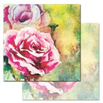 Ken Oliver - Watercolored Memories Collection - 12 x 12 Double Sided Paper - Watercolor Rose