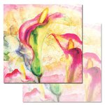 Ken Oliver - Watercolored Memories Collection - 12 x 12 Double Sided Paper - Calla Lily