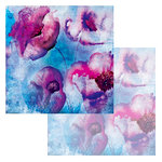 Ken Oliver - Watercolor Florals Collection - 12 x 12 Double Sided Paper - Watercolor Blue Poppies