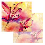 Ken Oliver - Watercolor Florals Collection - 12 x 12 Double Sided Paper - Watercolor Tiger Lilies