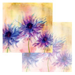Ken Oliver - Watercolor Florals Collection - 12 x 12 Double Sided Paper - Watercolor Asters