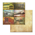 Ken Oliver - Covered Bridges Collection - 12 x 12 Double Sided Paper - Journaling Cards