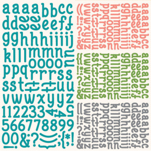 Lawn Fawn - Bright Side Collection - 12 x 12 Cardstock Stickers - Alphabet