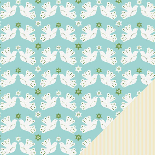 Lawn Fawn - Fa-La-La Collection - Christmas - 12 x 12 Double Sided Paper - Two Turtledoves