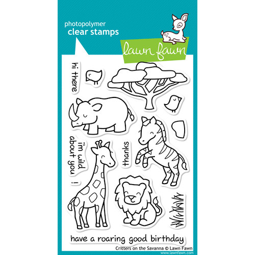 Lawn Fawn - Clear Acrylic Stamps - Critters on the Savanna