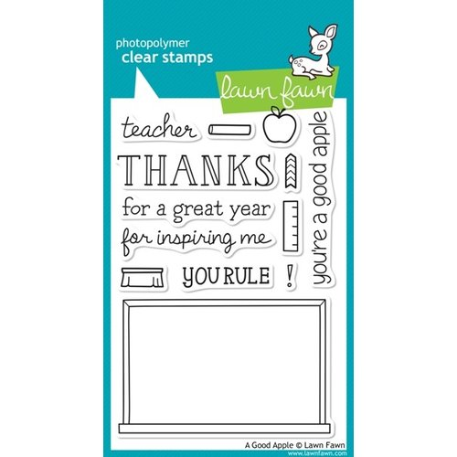 Lawn Fawn - Clear Acrylic Stamps - A Good Apple