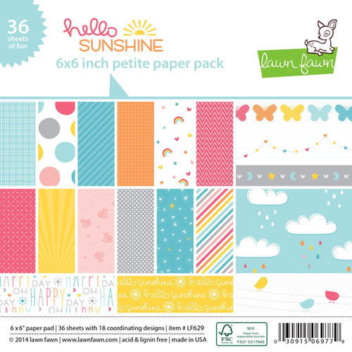 Lawn Fawn - Hello Sunshine Collection - 6 x 6 Petite Paper Pack