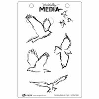 Ranger Ink - Dina Wakley Media - Unmounted Rubber Stamps - Scribbly Birds in Flight