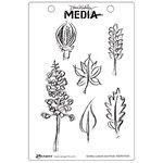 Ranger Ink - Dina Wakley Media - Unmounted Rubber Stamps - Scribbly Leaves and Pods
