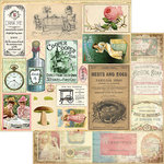 Marion Smith Designs - Mad Tea Party Collection - 12 x 12 Double Sided Paper - Cut and Create Ephemera