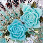 Marion Smith Designs - Junque and Gems Collection - Resin Roses - Blue