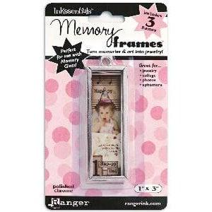 Ranger Ink - Inkssentials - Jewelry - Memory Frames - 1 x 3 - Polish Chrome
